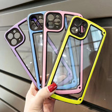 Luxo transparente caso de telefone para apple iphone 11 12 pro max mini se 2020 x xr xs max 7 8 plus câmera doces cor capa