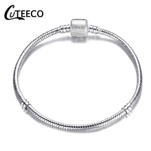 Cuteeco Classic Silver Plated Basic Snake Chain Charm Bracelet & Bangle DIY Pan Jewelry for Women Gifts Dropship