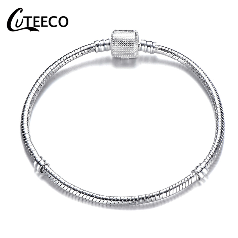 Cuteeco Classic Silver Plated Basic Snake Chain Charm <font><b>Bracelet</b></font> & Bangle DIY <font><b>Pan</b></font> <font><b>Bracelet</b></font> Jewelry for Women Gifts Dropship image