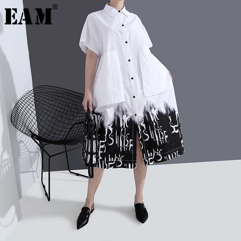 [EAM] Women Gray Pattern Printed Big Size Shirt Dress New Lapel Short  Sleeve Loose Fit Fashion Tide Spring Summer 2020 1T425