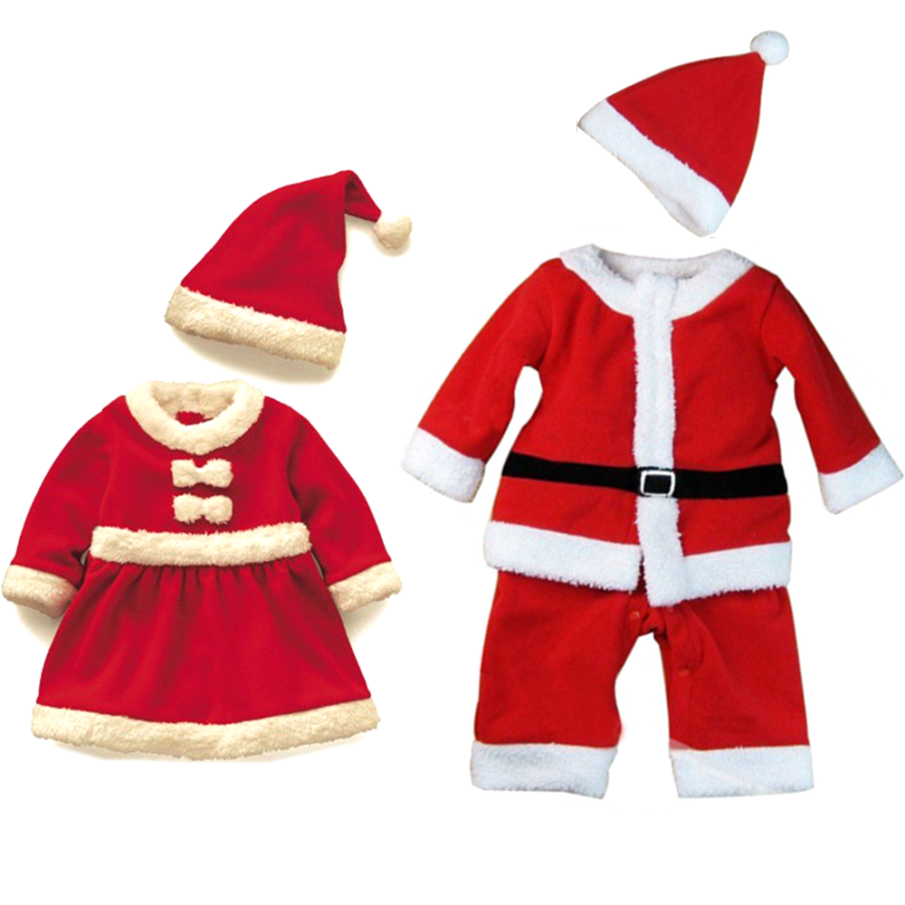 Children Christmas Costumes Kids Santa Claus Cosplay Boys Girls Baby Carnival Party New Year Suit Red Dress Set For 2-15 Years