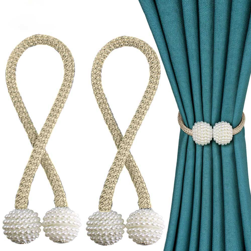A- 1pc Pearl Magnetic Curtain Clip Curtain Holders Tieback Buckle Clips Hanging Ball Buckle Tie Back Curtain Accessories