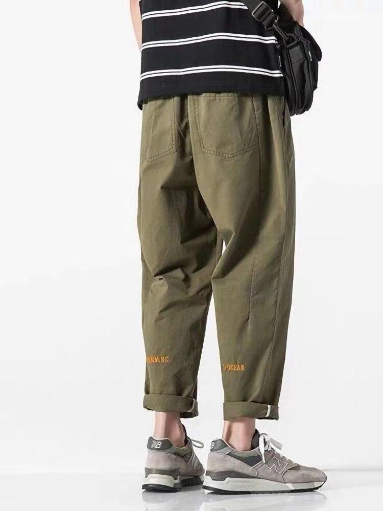 Harem Pants Men Streetwear Baggy Loose Pants 5XL Plus Size Mens Ankle Length Trousers Black With Belt