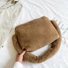 Winter Handbag Designer Women's Plush Shoulder Bags Soft Fur Hobo Handbag Women Large Capacity Purse Lady Sac Drop Shipping