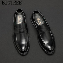 mens dress shoes loafers luxury brand men leather shoes Coiffeur evening dress italian shoes men formal wedding dress 2019 buty(China)