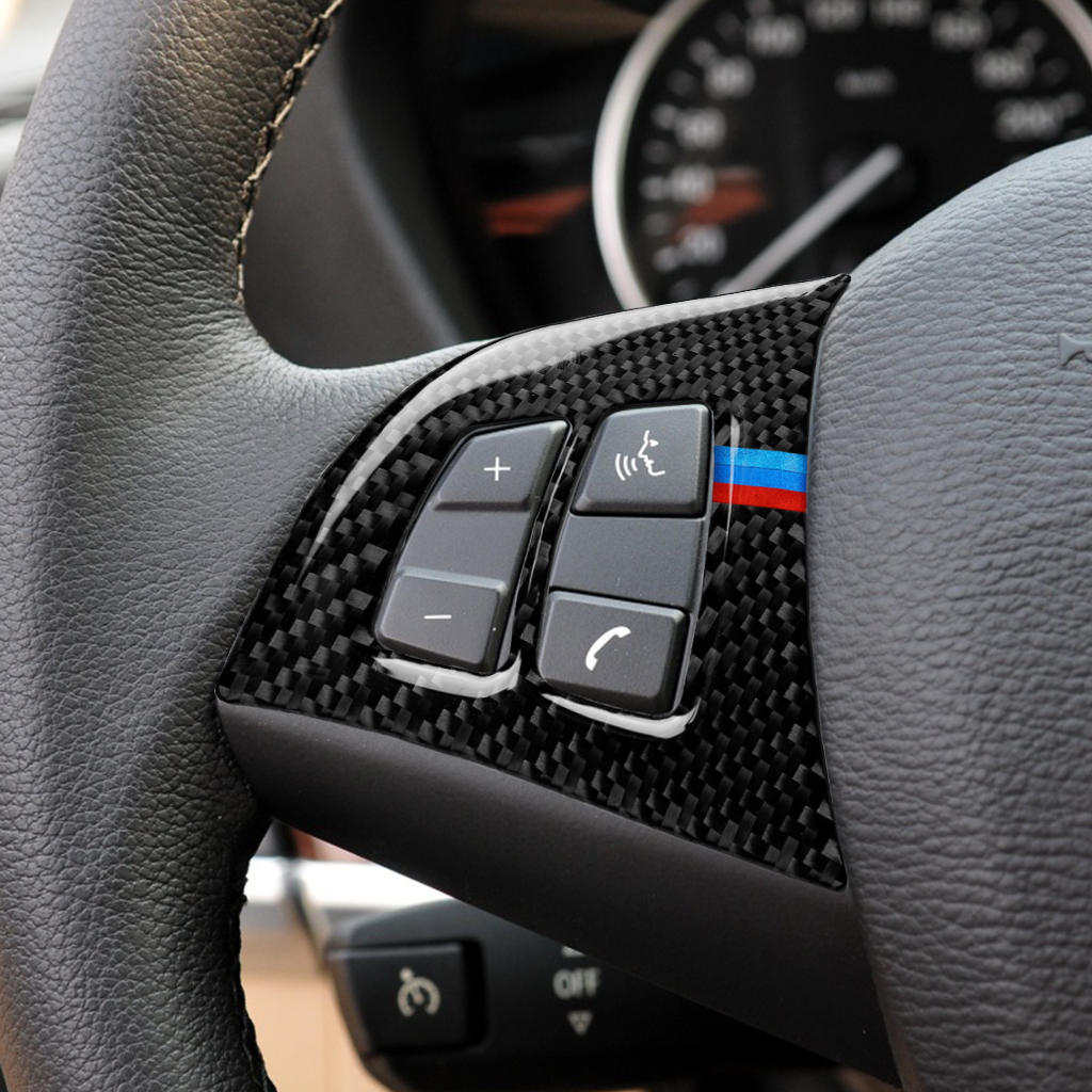 For <font><b>BMW</b></font> X5 E70 Steering Wheel Buttons carbon fiber 3D <font><b>car</b></font> Stickers M <font><b>stripe</b></font> emblem decals image