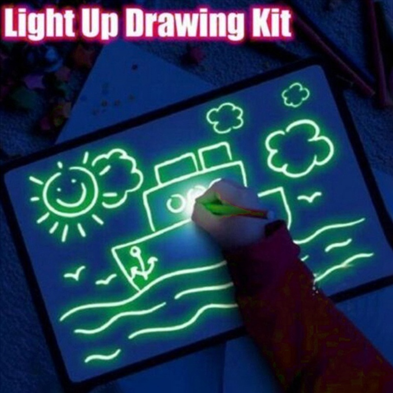 1Pcs A3 A4 A5 Magic Luminous Drawing Board Draw With Light-Fun Sketchpad Board Fluorescent Pen Russian English Light Up Draw Kit