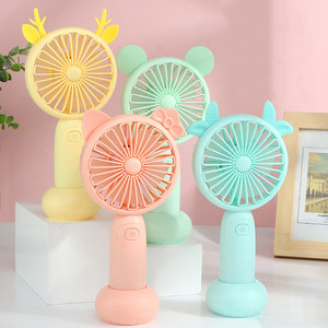 1PC Usb Charged Fans Mini Desktop Handheld Adjustable 2 Speed Fawn Cartoon Electric Fan With Light Quiet Travel Outdoor Cooling