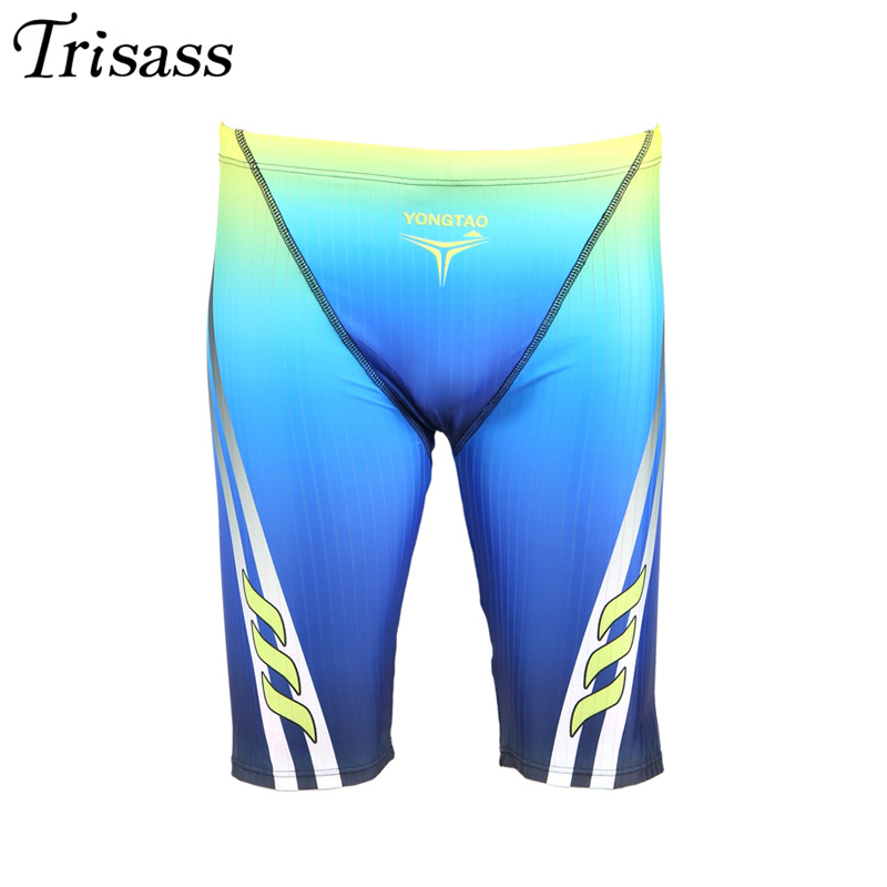 Trisass 2019 New Style Color Gradient Drainage Line Design Men Short Profession Sports Swimming Trousers