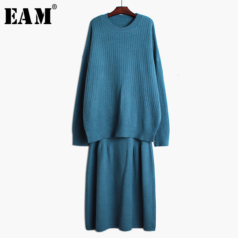[EAM]  Half-body Skirt Knitting Two Pieces Suit New Round Neck Long Sleeve Loose Women Fashion Tide Spring Autumn 2019 19A-a724