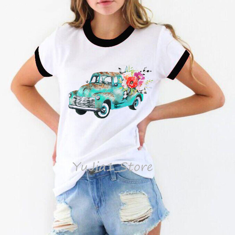 Happy Camper Car Mountain print t shirt women clothes 2019 vogue funny t shirts harajuku shirt tumblr tops tee shirt femme in T Shirts from Women 39 s Clothing