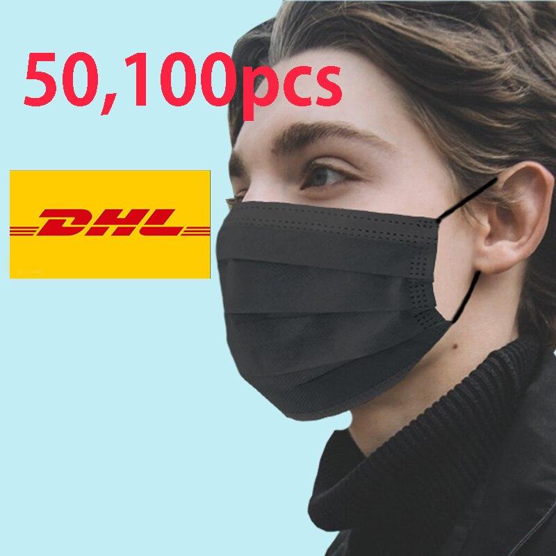 Dropshipping Flu Black 50 100 pcs Disposable Anti 3 ply 100pcs Corona Virus Masks Mouth Face Mask Dental korean 1