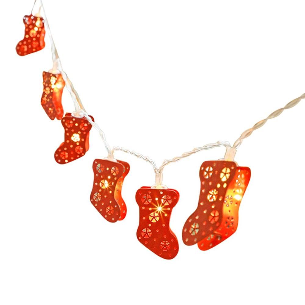 New Silver Copper Wire Christmas Red Sock String Led String Christmas Wedding Fairy Garland Decoration Belt