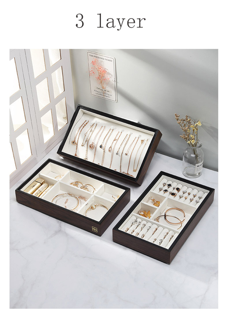 3layer and 4layer New Wooden Jewelry Box With Handle Storage Jewelry Organizer Carrying Cases Women Rings Necklace Box