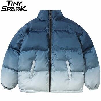 Hip Hop Oversized Jacket Parka Gradient Streetwear 2020 Mens Jacket Harajuku Cotton Winter Padded Jacket Coat Warm Outwear Blue