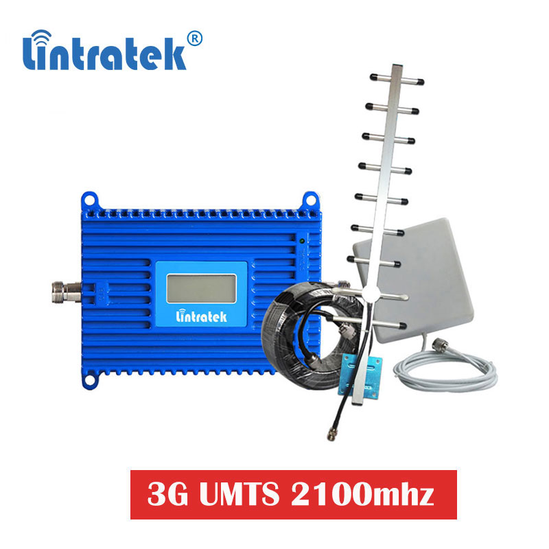 Lintratek 70dB 3G 2100MHz UMTS WCDMA Cell Phone Signal Booster 2100 Repeater 3g Repeater Cellular Amplifier UMTS Antenna Set S6