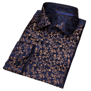 Image 3 - Barry.Wang Gold Soft Silk Shirts Men Autumn Long Sleeve Casual Flower Shirts For Men Suit Party Designer Fit Dress Shirt BCY 06