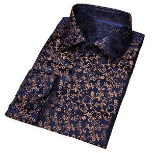 Image 3 - Barry. wang Gold Weiche Seide Shirts Männer Herbst Langarm Casual Blume Shirts Für Männer Anzug Party Designer Fit Kleid Hemd BCY 06