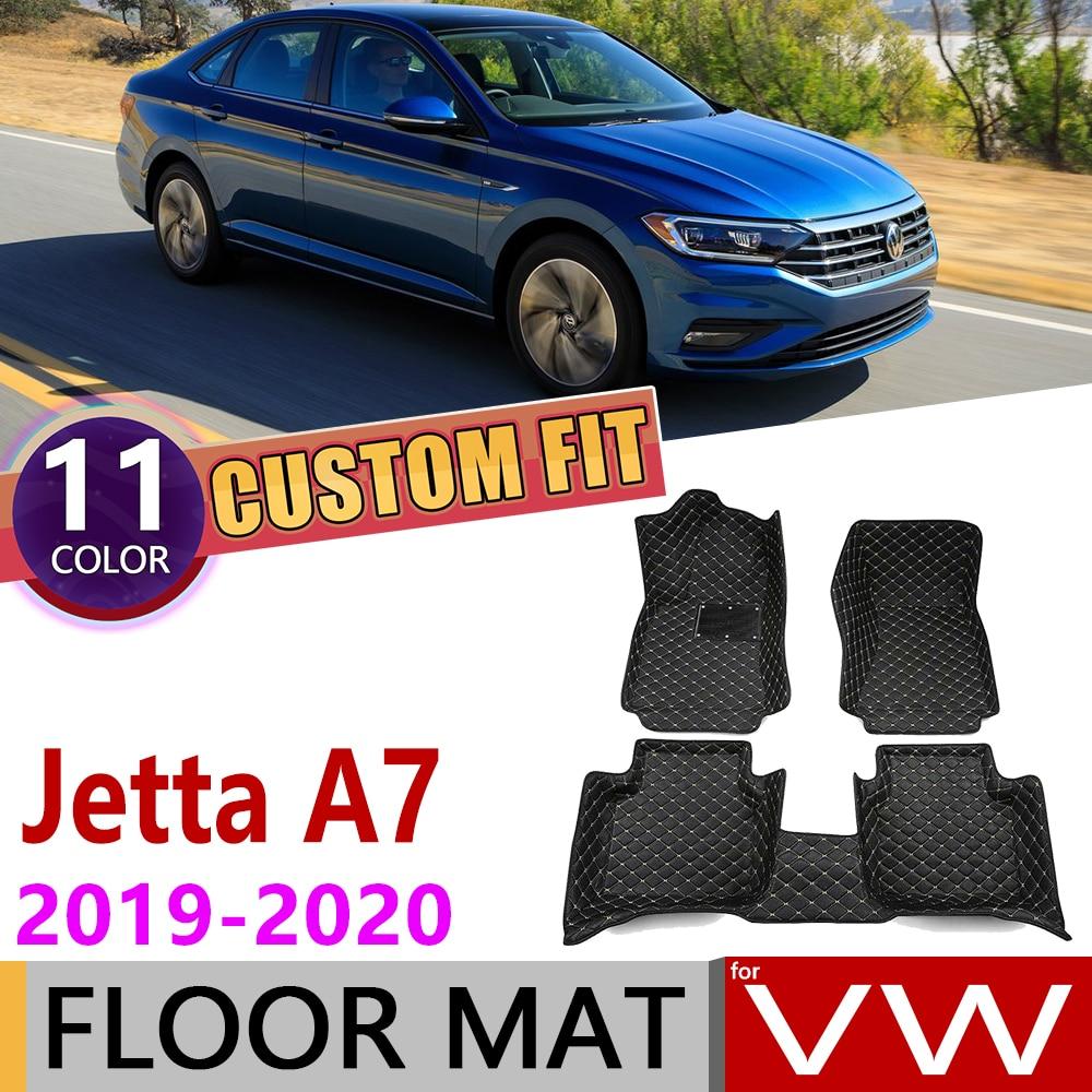 Custom Leather Car Floor Mat for Volkswagen VW Jetta A7 MK7 Sedan 2019~2020 5 Seats Waterprool Auto Foot Pad Carpet Accessories|Car Stickers| |  - title=