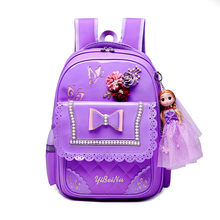 children school bags for teenagers girls princess school backpack kids waterproof satchel kids PU backpack schoolbags mochila(China)