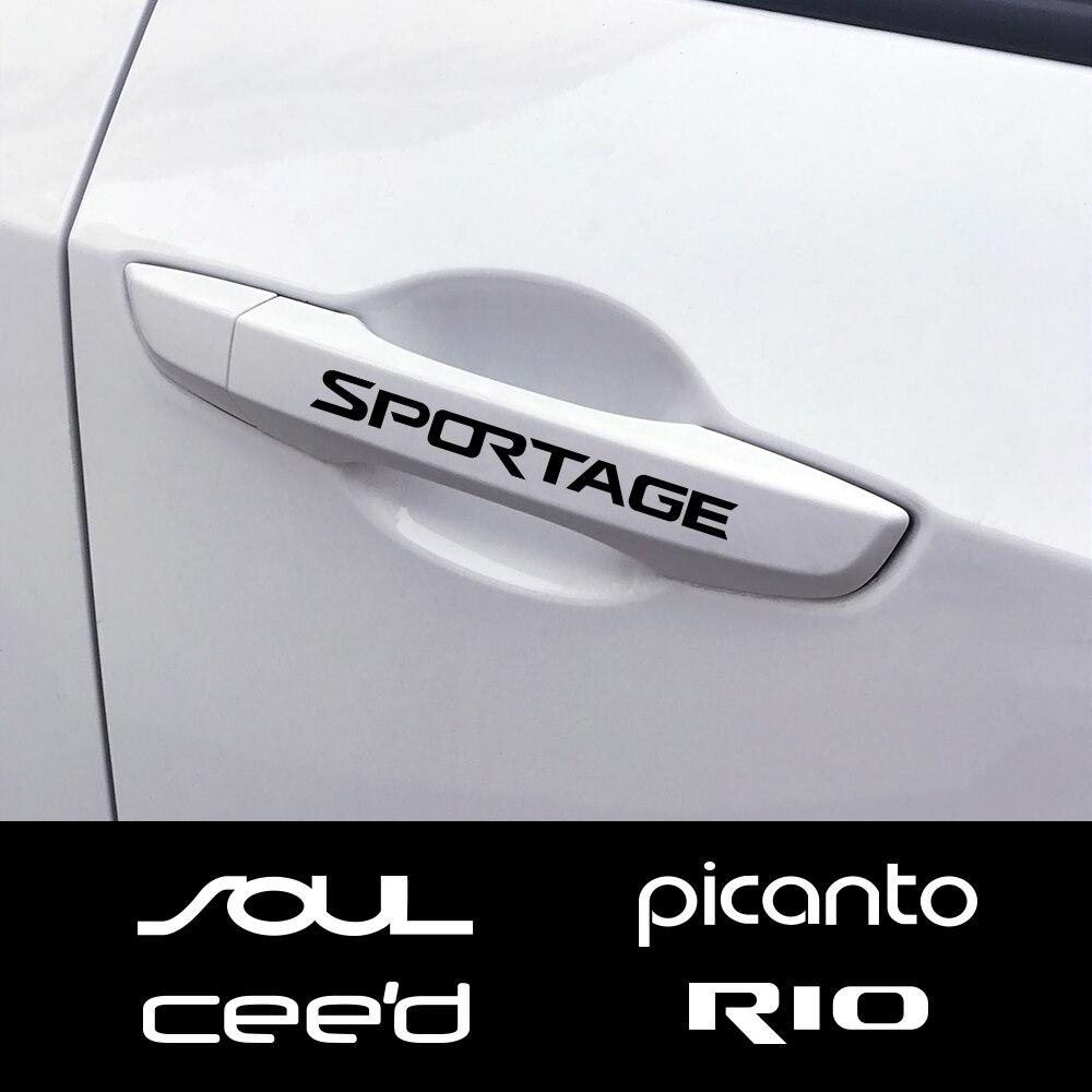 4PCS Car Door Handle Stickers For Kia Sportage 3 4 QL Rio 3 4 K2 Optima Sorento Picanto Ceed Forte Cadenza K9 Soul Accessories