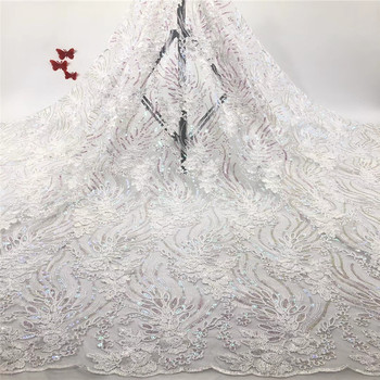 African Lace Fabric 2020 High Quality Lace with Embroidered Nigerian Lace Fabric Bridal French Tulle Lace Fabric dress r66-936