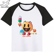 Kids Game Pac-Man Eat Ghost Funny T-shirt Kids Summer O-Neck Tops Children Cartoon Pacman Print Tshirt Baby Clothes(China)