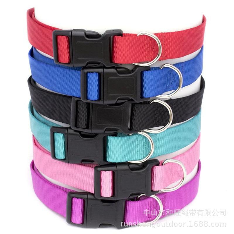 Pet Supplies Adjustable Nylon Collar Big Dog Neck Ring Multi-color Customizable Dog Collar Hand Holding Rope