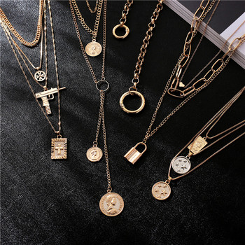 Luokey Fashion Layered Gothic Necklace For Women Men Coin Round Circle Lock Punk Pendant Choker Necklace Long Chain Jewelry Gift chic double layered round hat pendant necklace for women