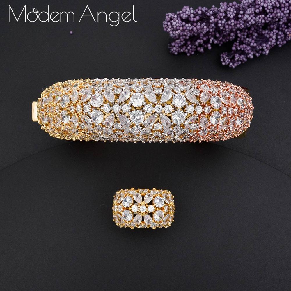 ModemAngel Luxury Saudi Arabia Bangle Ring Set For Women Full Micro Cubic Zircon Pave Party Wedding Saudi Arabic Dubai Jewelry S