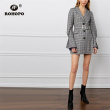 ROHOPO Lace Cuff Plaid Notched Collar Grey Dress Buttons Fly Belted Slim Autumn Mini Striped Outwear #755 недорого