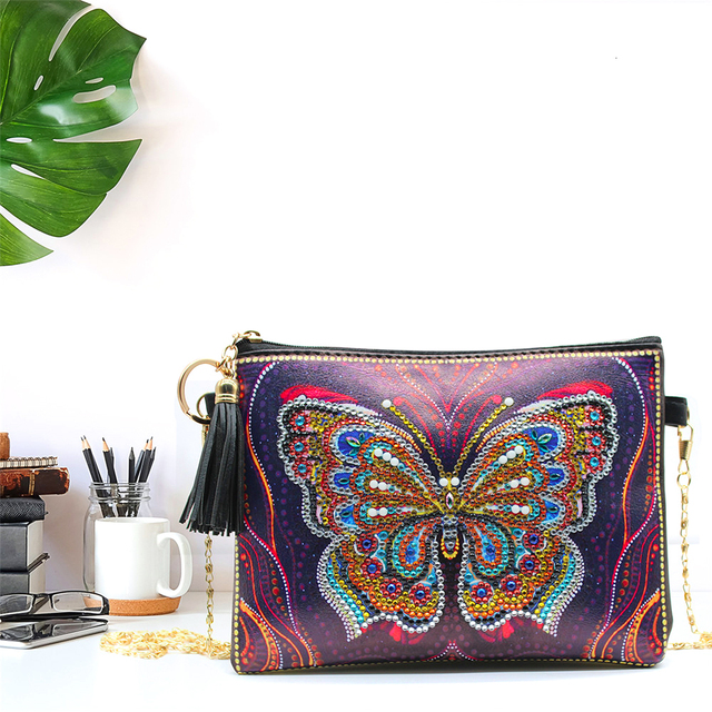 HUACAN 5D DIY Diamond Painting Chain Bags Butterfly Special Shaped Wallet Diamond Embroidery Handmade Women Gifts