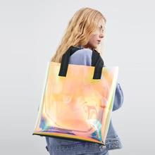 Lazer Hologram şeffaf çanta PVC şeffaf Tote çanta yeni moda büyük omuzdan askili çanta yaz plaj büyük kapasiteli alışveriş çantaları