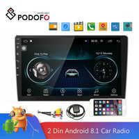 Podofo Andriod 2din Car Multimedia Player GPS Navigation Bluetooth Car Audio Wifi USB FM 10''HD Car Audio Radio Stereo Autoradio