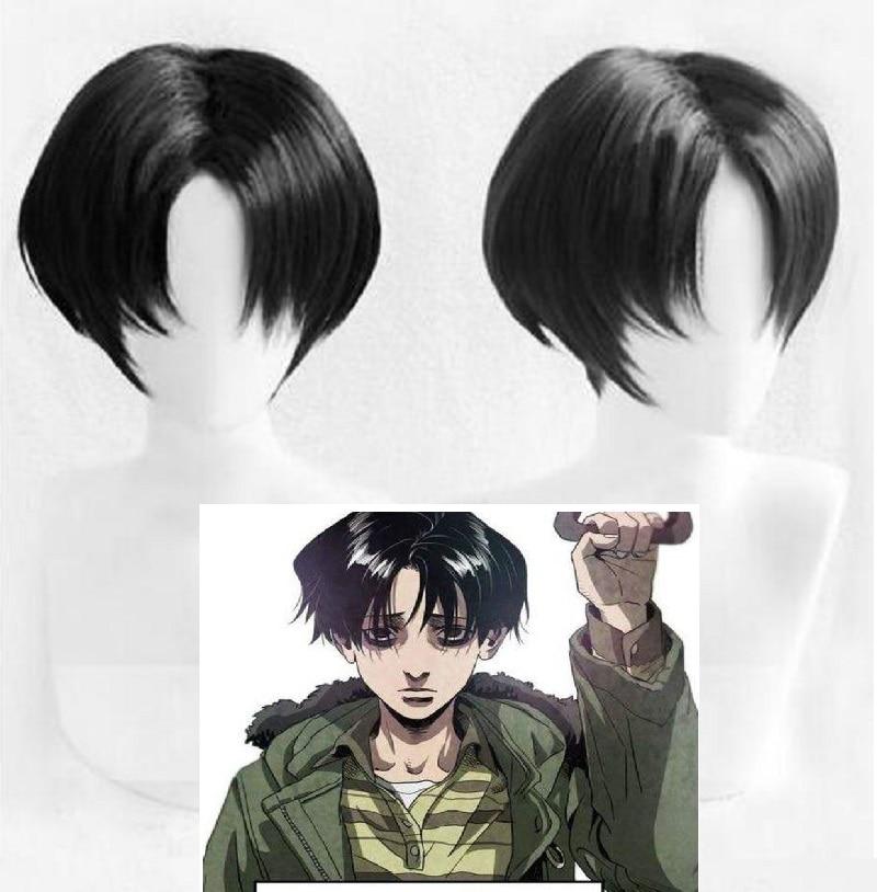 Killing Stalking Yoon Bum Yoonbum Wig Short Black Heat Resistant Synthetic Hair Cosplay Costume Wigs + Wig Cap