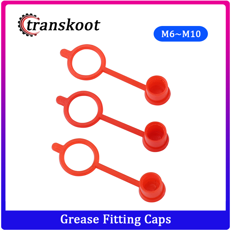 300pcs 200pcs 100pcs M6 M8 M10 RED Polyethylene Plastic Dust Cap Dust Cover Protection Cover Cap For Grease Gun Zerk Fitting