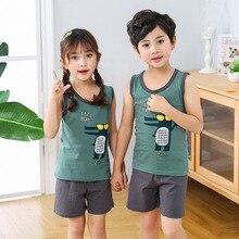 Summer Girl Boys Pajamas Sets Children's Clothing Suits Vest