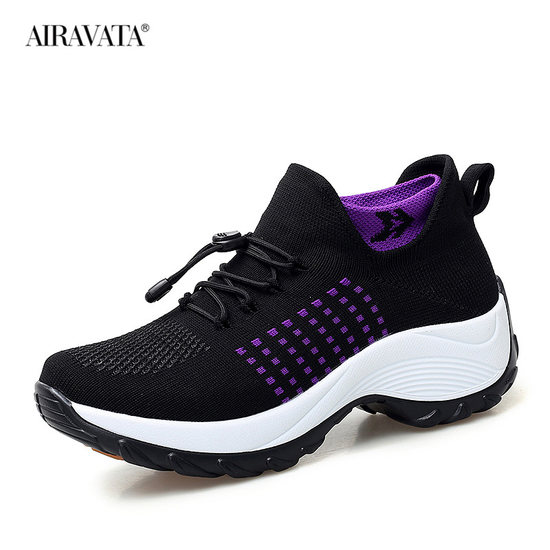 Black-Women Casual Shake Sneakers Breathable Platform Walking Shoes