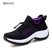 Black-Women Casual Shake Sneakers Breathable Platform Walking Shoes