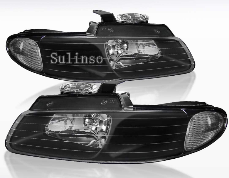 Sulinso Fit For Dodge Grand Caravan Chrysler Voyager Town&Country Black Clear Headlights 2pcs