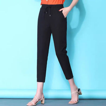 Women's Rayon Jeans Ankle-Length Pants High Waist Office Lady Women High Elasticity Stretch Casual C