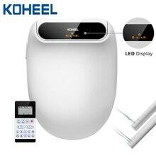 Koheel display led inteligente assento do toalete bidé elétrico bico duplo cobrir lavagem aquecida massagem a seco inteligente tampa do toalete