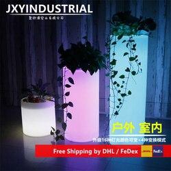 Nieuwe waterdichte LED licht ronde plastic lichtgevende bloempot cilindrische sub ijs vat outdoor decoratieve landschap lamp