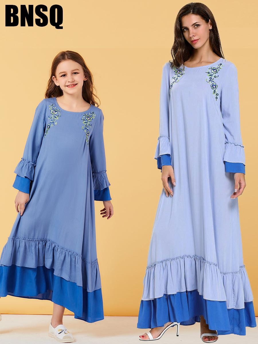 Mother Daughter Embroidery Girls Abaya Maxi Dress Children's Wear Family Matching Outfits Kimono Long Robes Eid Ramadan Islamic