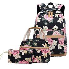 Litthing 3 Pcs Children Travel Floral Canvas Backpack Bookbags Set School Backpacks for Teen Girls Bags Kids