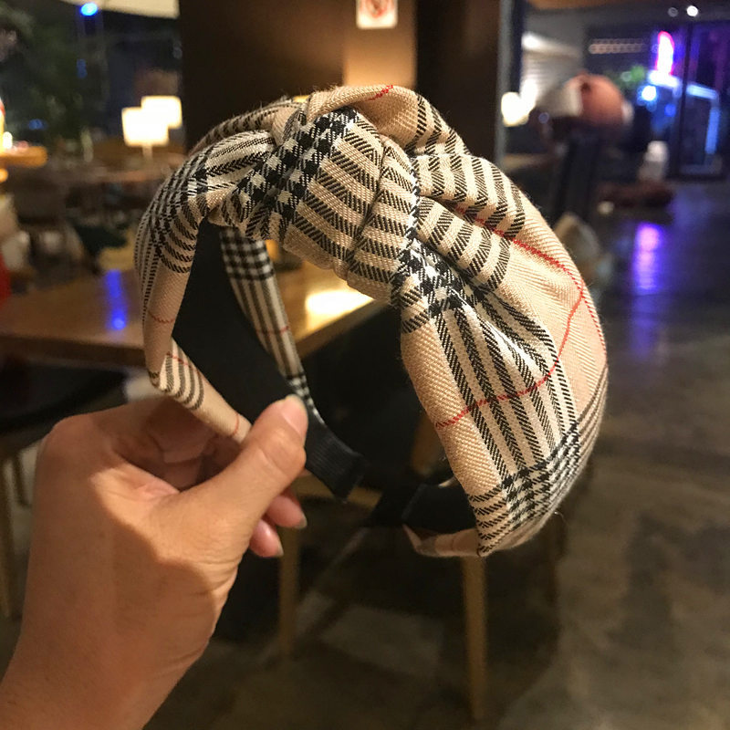 Retro Knotted Cross Lattice Hair Band Headband Headwear Hair Accessories For Women Simple Grid Hairbands Headdress