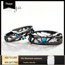 Thaya CZ anillos de plata de ley 925 con Circonia cúbica azul brillante, joyería de Estilo Vintage Retro bohemio para amantes de las mujeres