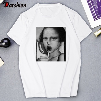 Summer Female New T-shirt Women Statue Lollipop Print Aesthetic Clothes Graphic Tee T-shirt Female Black and White Casual Female