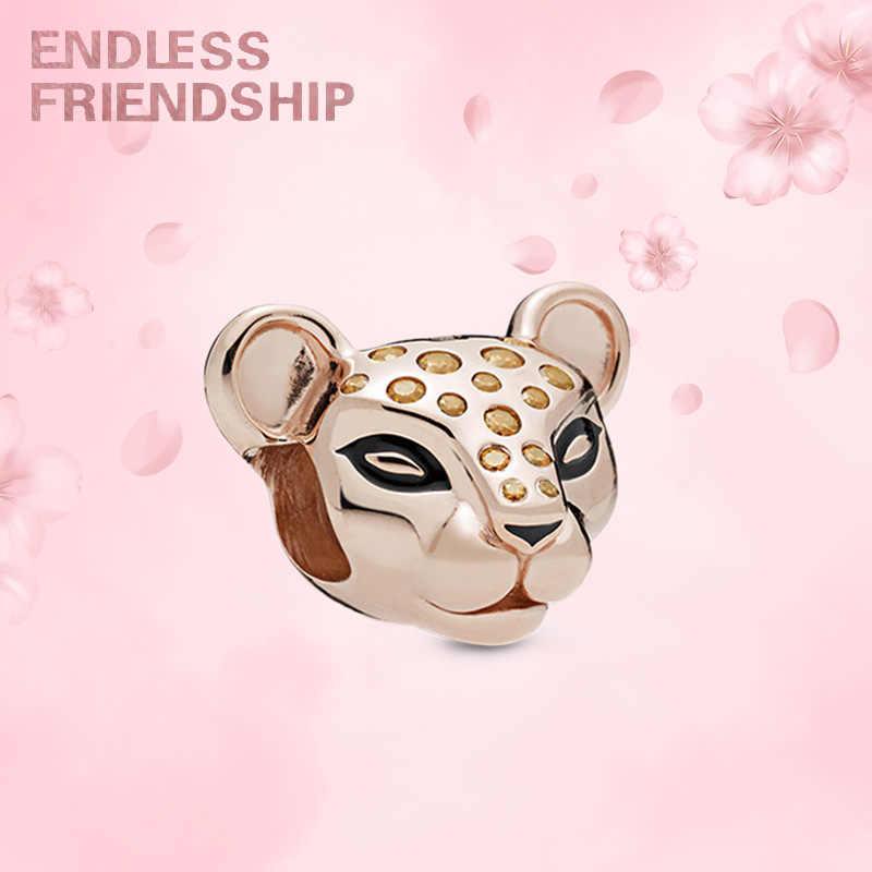 Leopard różowe złoto kryształ paciorki pasuje bransoletka pandora naszyjnik dla kobiet DIY biżuteria dokonywanie prezenty Dropshipping