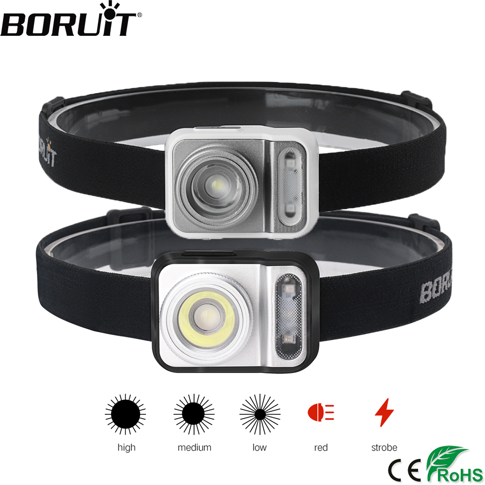 BORUiT B36 XP-G2+2*3030 Red Light LED Mini Headlamp 5-Mode Zoom Headlight AAA Battery Head Torch Hunting Camping Lighting